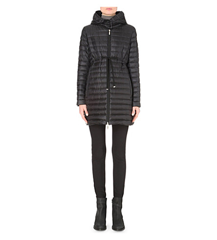 MONCLER BARBEL HOODED QUILTED SHELL COAT, BLK