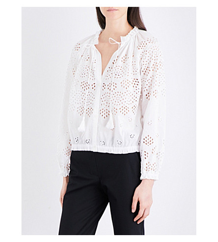 Theory Woman Maryana Broderie Anglaise Cotton Blouse White Size XL Theory Sale Discounts Cheap Discount Authentic Outlet For Cheap 9RqzijQTH