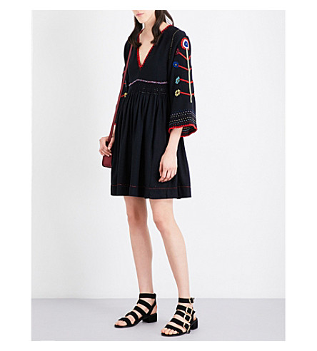 ULLA JOHNSON Masha Embroidered Raw-Silk Dress, Midnight