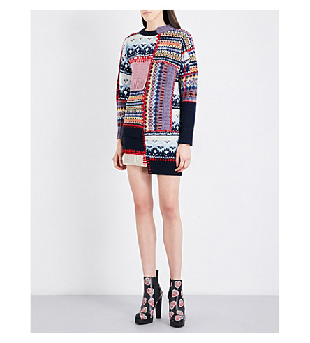 ALEXANDER MCQUEEN WOMAN PATCHWORK CHUNKY-KNIT WOOL-BLEND DRESS NAVY, MULTICOLOR