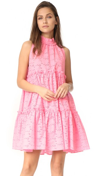 Erica Ruffled Broderie Anglaise Cotton Mini Dress, Pink Eyelet