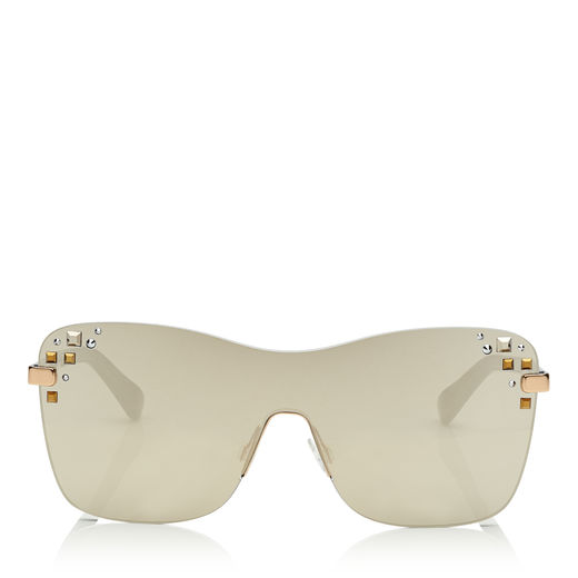 Mask Rose Gold And Grey Round Frame Sunglasses With Swarovski Crystals, Em3 Grey Silver Mirror