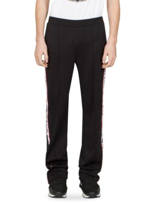 Acetate Jersey Track Pants W/ Logo Bands, Black