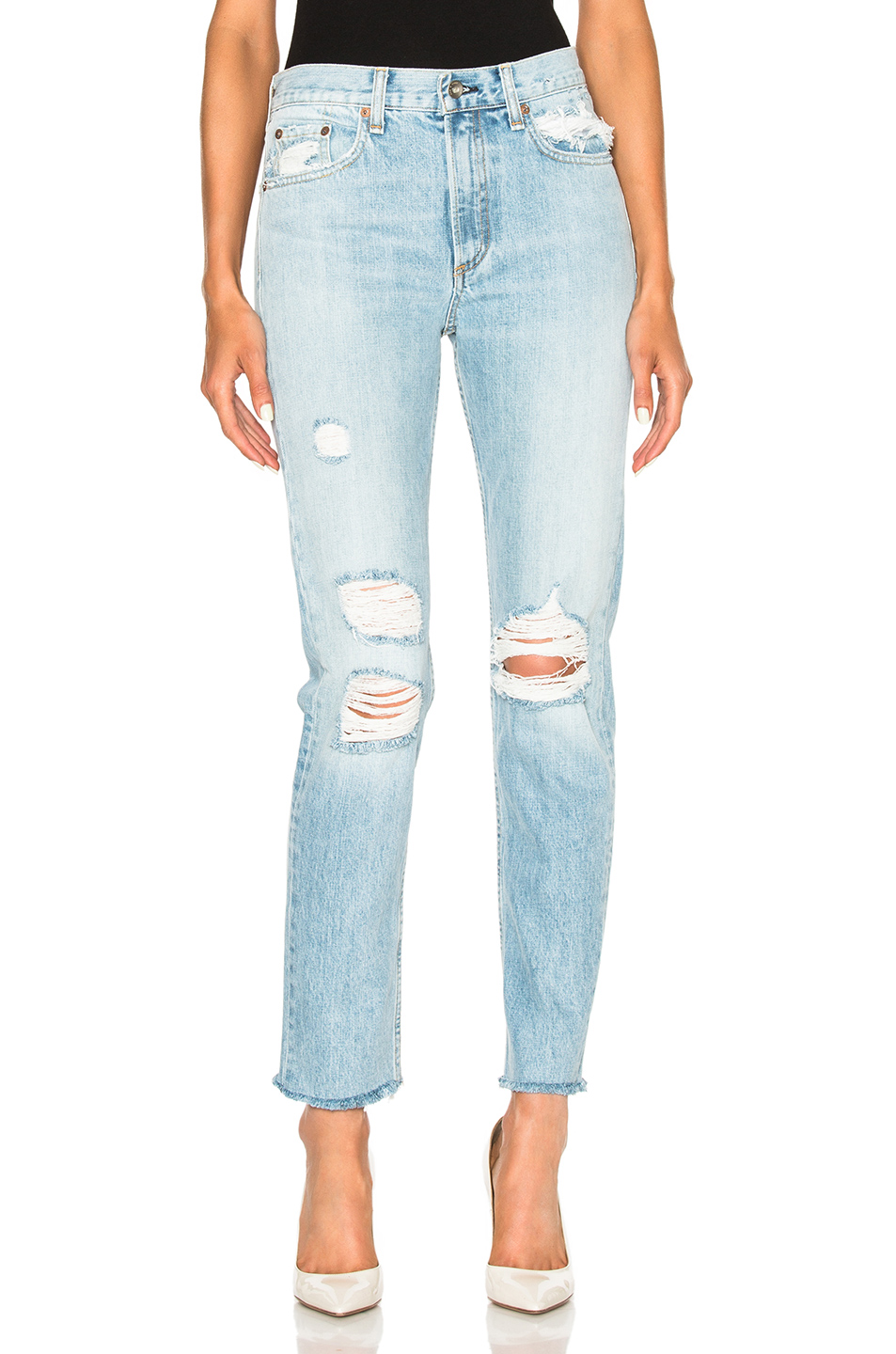 Rag & Bone/jean Woman Marilyn Distressed Boyfriend Jeans Light Denim Size 26 Rag & Bone Buy Cheap Get To Buy ISVLEUAL
