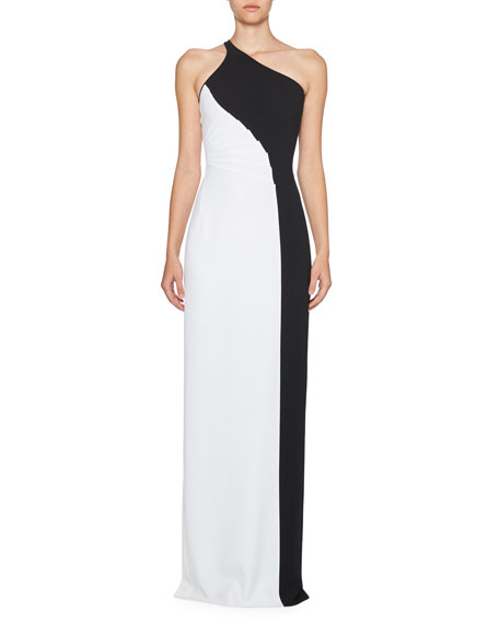 Stella Mccartney Woman Natalia One-shoulder Two-tone Stretch-cady Gown White Size 36 Stella McCartney Clearance 2018 New OgHqd