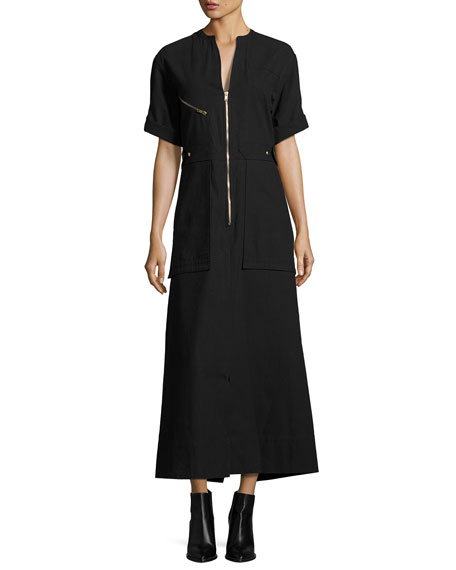ISABEL MARANT Zip-Front Cargo-Pocket Maxi Shirtdress, Black