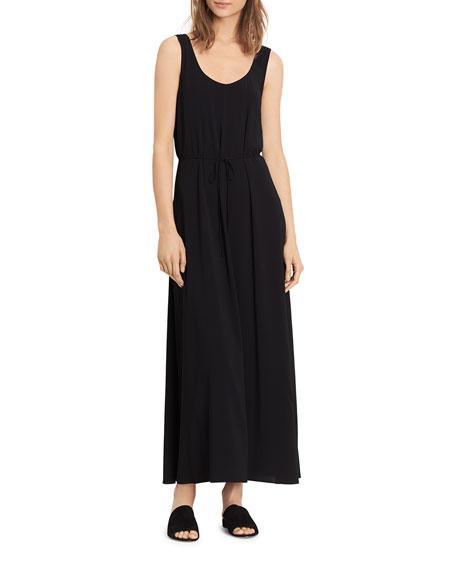 VINCE Wrap Back Scoop-Neck Dress, Black