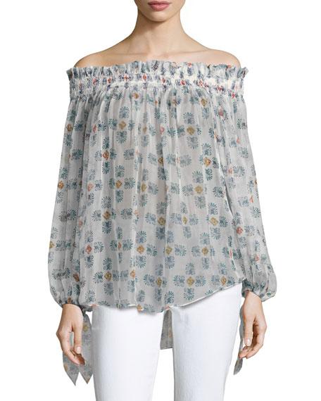 83d9031e947 CAROLINE CONSTAS Lou Off-The-Shoulder Printed Chiffon Top, White Pattern