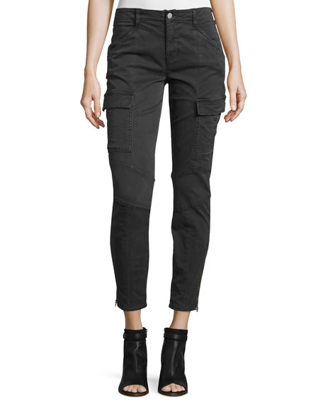 J BRAND Houlihan Skinny Cargo Ankle Pants, Dark Gray, Olive