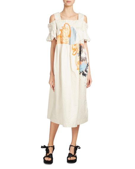 DRIES VAN NOTEN DUBOIS PRINTED COLD-SHOULDER DRESS, NEUTRAL, NEUTRAL PATTERN