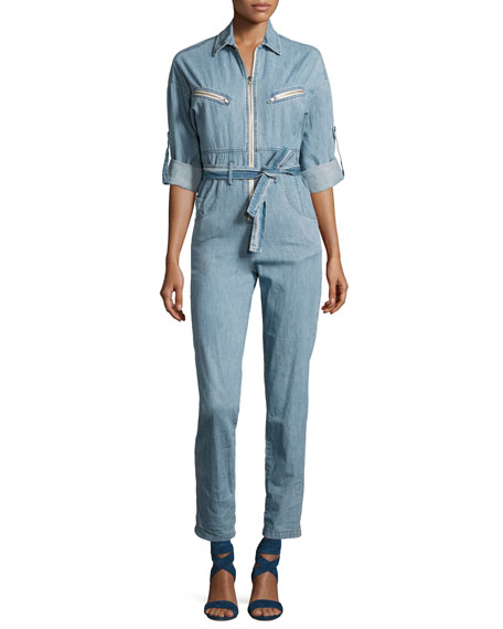 Woman Polly Cotton-Chambray Jumpsuit Mid Denim in Blue from IRO