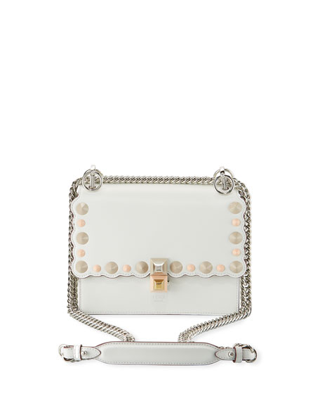 FENDI Kan I Mini Scalloped Studded Chain Shoulder Bag, White in White Pattern