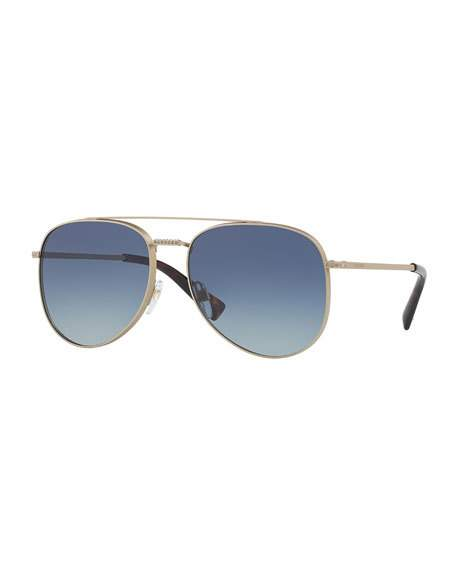 Valentino 56Mm Aviator Sunglasses - Matte Ruthenium/ Grey Crystal, Gray