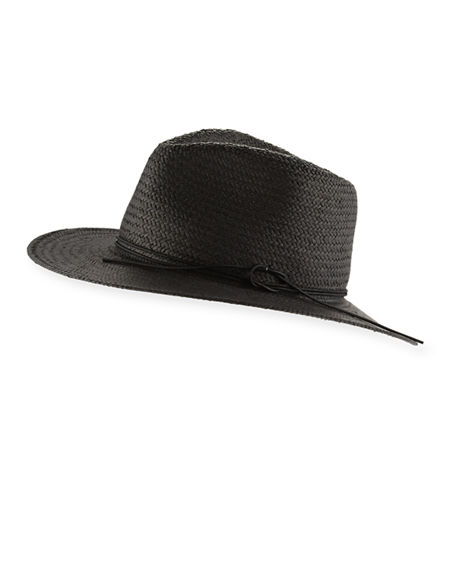 Rag & Bone Packable Straw Fedora Hat, Black