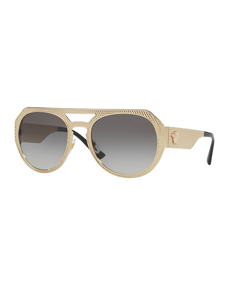 VERSACE EMBOSSED METAL GRADIENT AVIATOR SUNGLASSES, GOLD