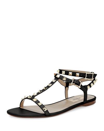 Rockstud T-Strap Flat Sandal, Nude