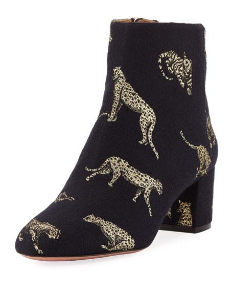 AQUAZZURA Brooklyn Leopard-Print Jacquard Block Heel Booties, Black