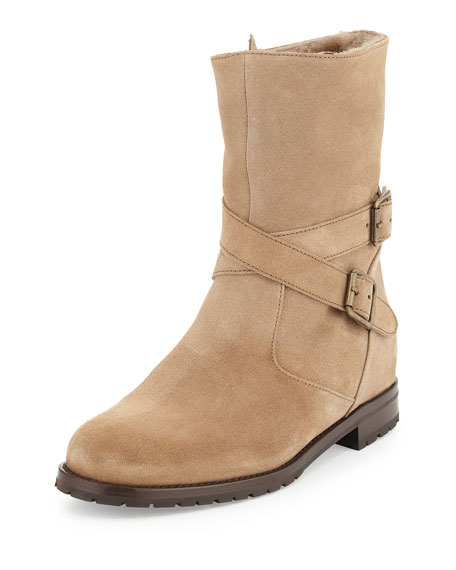 MANOLO BLAHNIK Campocross Belted Mid-Calf Boot With Shearling, Beige, Charcoal