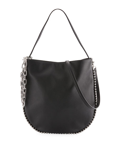 Roxy Hobo Bag With Ballchain In White Calfskin in Black