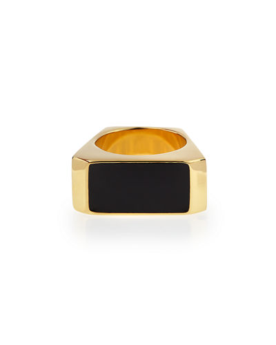SAINT LAURENT BLACK/GOLDEN COLORBLOCK RING, WHITE