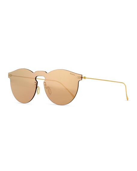 ILLESTEVA Leonard Mask Mirrored Sunglasses, 55Mm in Rose Gold