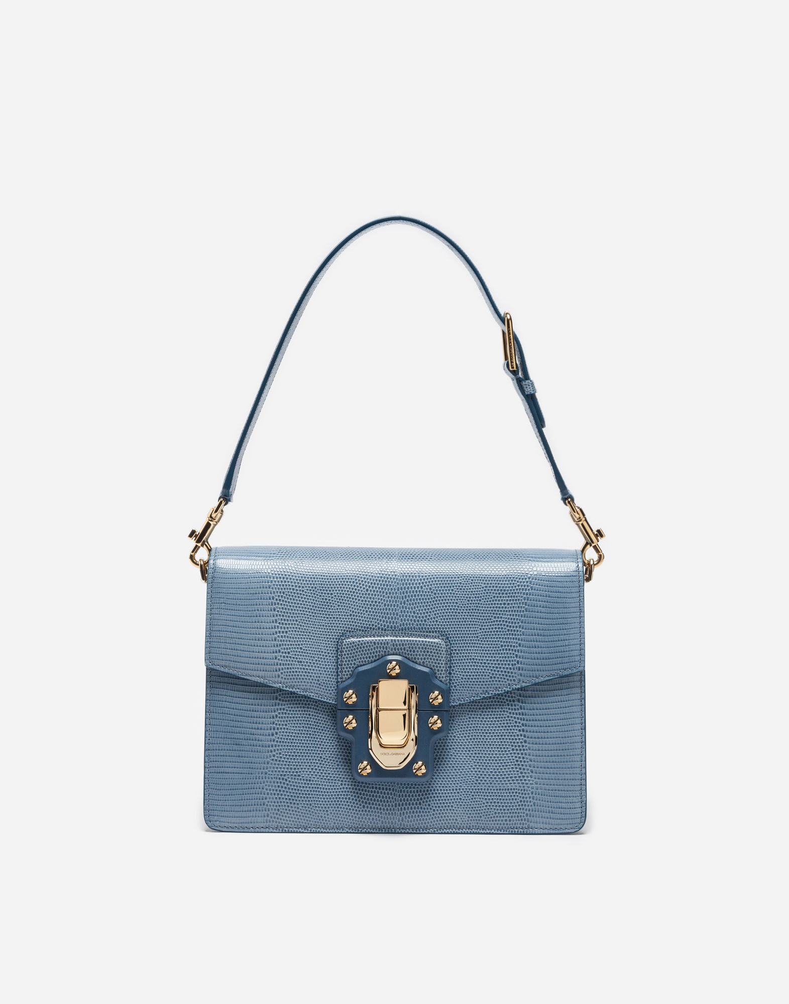 Lucia Lizard-Effect Leather Shoulder Bag in Blue