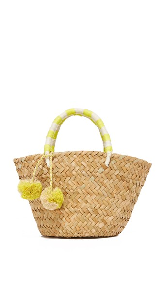 St Tropez Mini Pompom-Embellished Embroidered Woven Straw Tote, Yellow/White