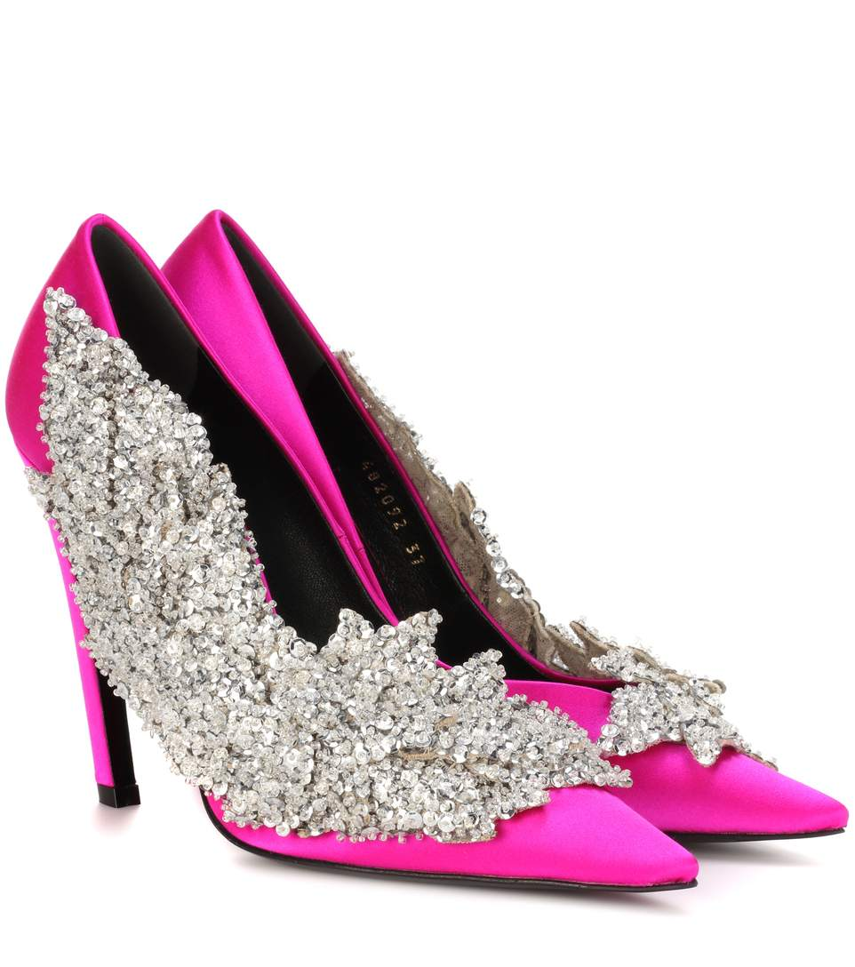 Talon Slash Sequin-Embellished Satin Pumps, Pink