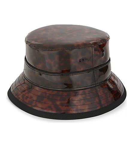 GIVENCHY TORTOISE VINYL CAMPER HAT, BROWN
