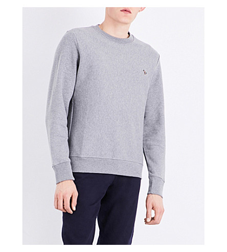 PS BY PAUL SMITH Zebra-Embroidered Cotton Sweatshirt in Grey