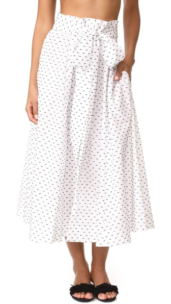 LISA MARIE FERNANDEZ Polka Dot Bow Babydoll Dress in White/Black