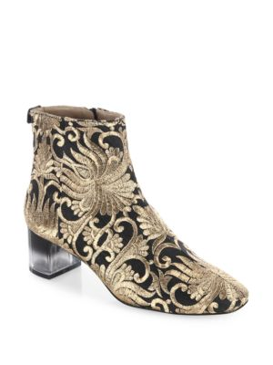 Leather And Fabric Ankle Boot in Metallic