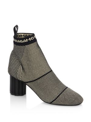 SALVATORE FERRAGAMO Capo Stretch Knit Booties, Alpaca-Nero