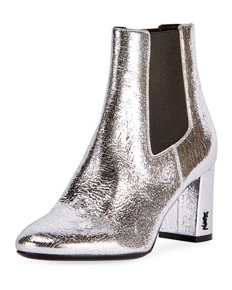 Loulou Metallic Leather Block Heel Chelsea Booties, Silver