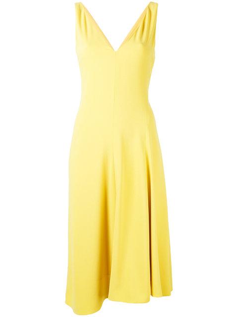 THEORY 'Tadayon B' Asymmetric Hem Crepe Dress in Sunflower