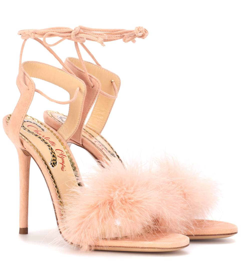 Salsa 110 Feather-Trimmed Suede Sandals in Baby Pink from CHARLOTTE OLYMPIA