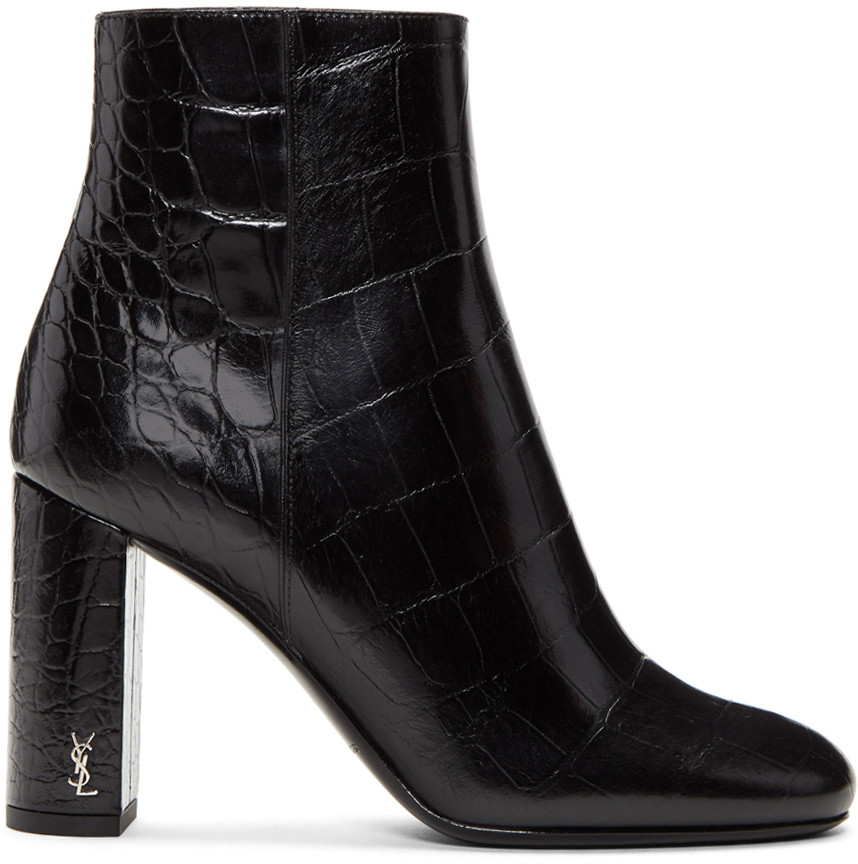 Loulou 70 Zipped Eel Leather Ankle Boots In Black, 1000 Black
