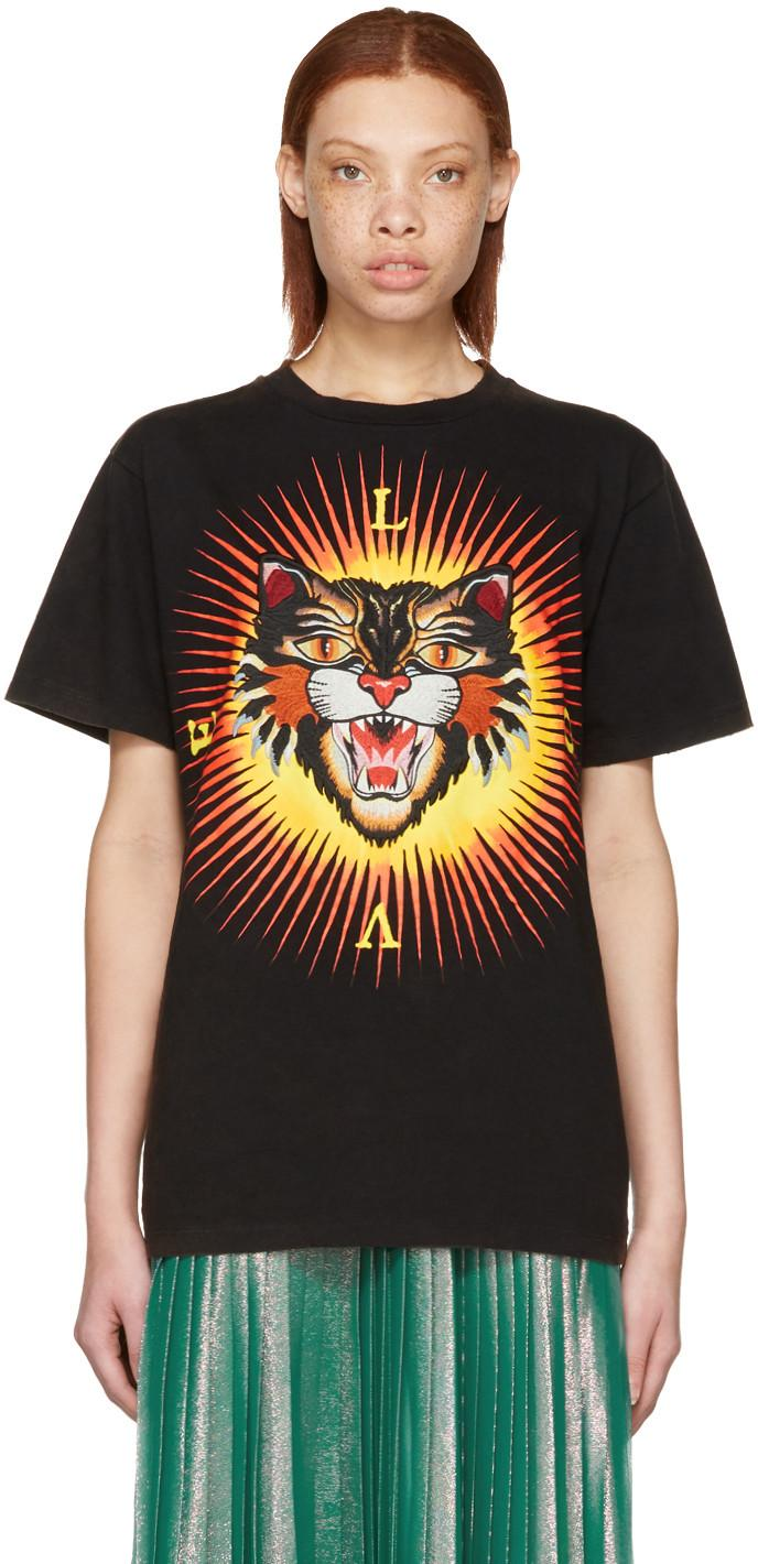 GUCCI Angry Cat Printed Cotton Jersey T-Shirt, Black in Black-Print