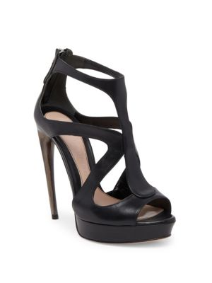 Strappy Suede Platform Sandal in Black