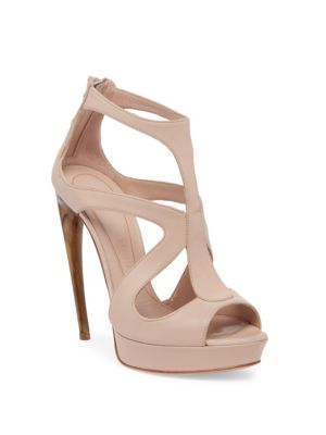 Curved Horn-Heel Leather Sandals, New Cameo