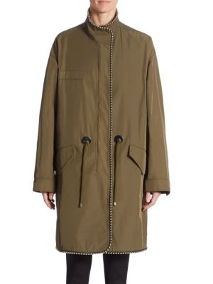 Oversized Parka With Ball Chain Trim, Green, Army