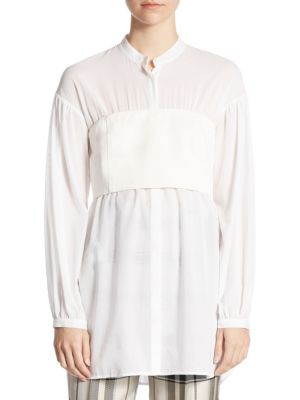 3.1 PHILLIP LIM Layered Twill And Cotton-Voile Blouse, White