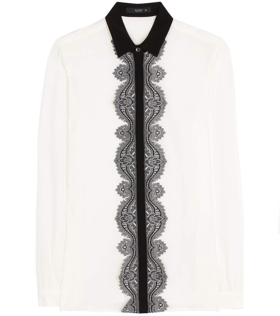 b6bacea5dda13c Etro Paisley Lace-Trim Silk Blouse, White In White Pattern | ModeSens