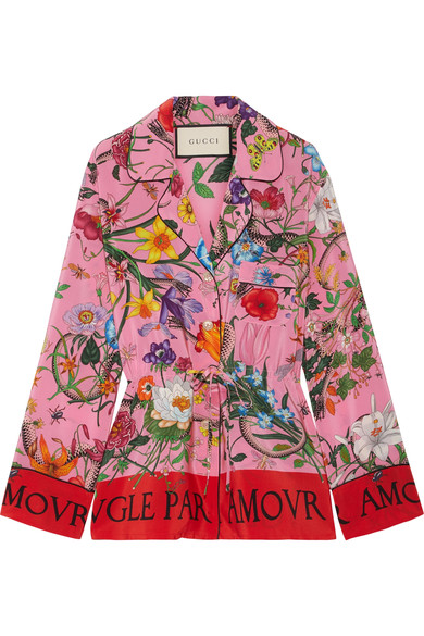 Printed Silk Crepe De Chine Shirt in Pink