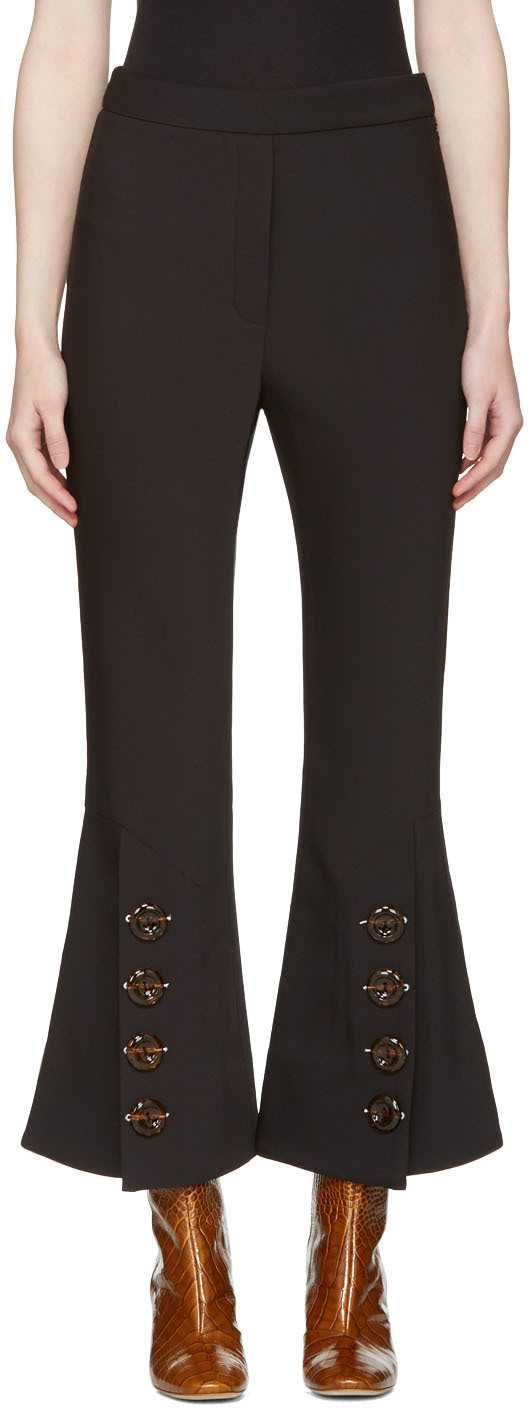 Ellery Woman Fourth Element Button-embellished Crepe De Chine Flared Pants Black Size 4 Ellery