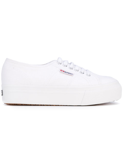 SUPERGA Auleaw Leather Lace Up Platform Sneakers in White