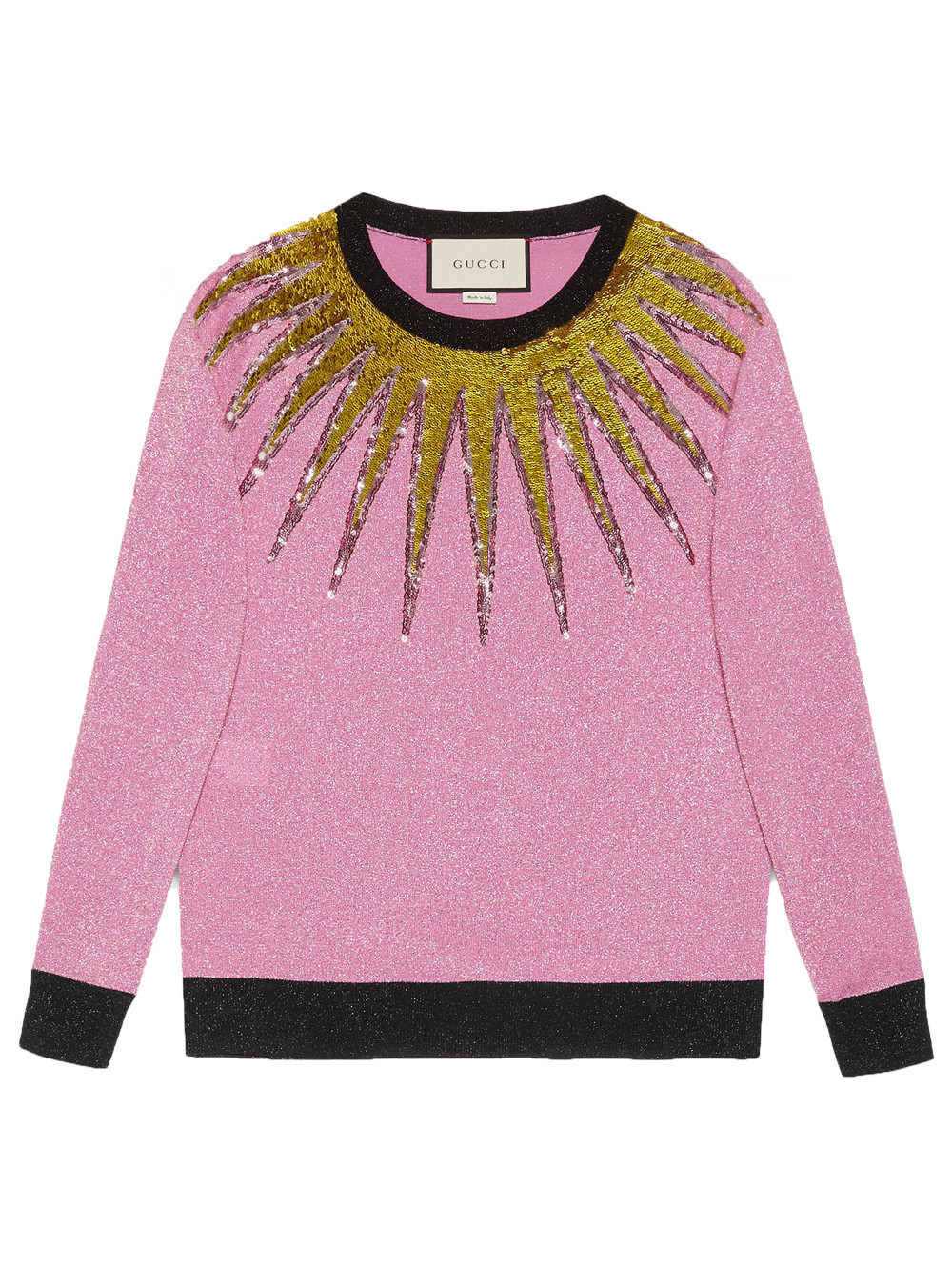 Gucci Embroidered Metallic Sweater, Light Pink, Fuchsia Lurex