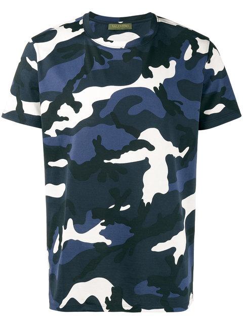 VALENTINO Camouflage-Print Cotton-Jersey T-Shirt, Black