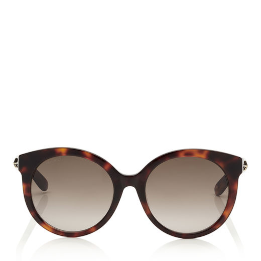 2a98228d64 Jimmy Choo Astar Dark Havana Oversized Sunglasses With Gold Star Detailing  In Eha Brown Shaded