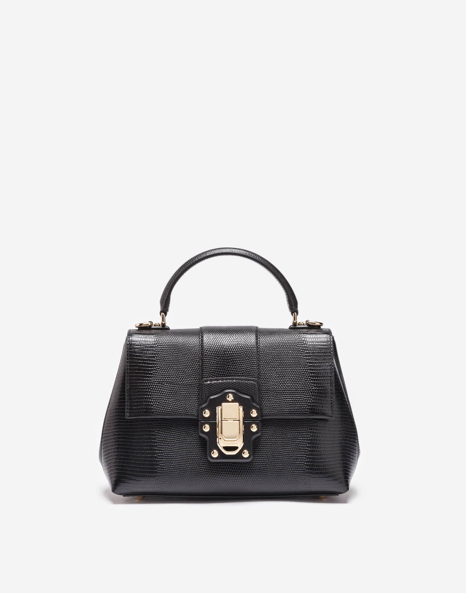 Lucia Small Embossed Leather Shoulder Bag in Black
